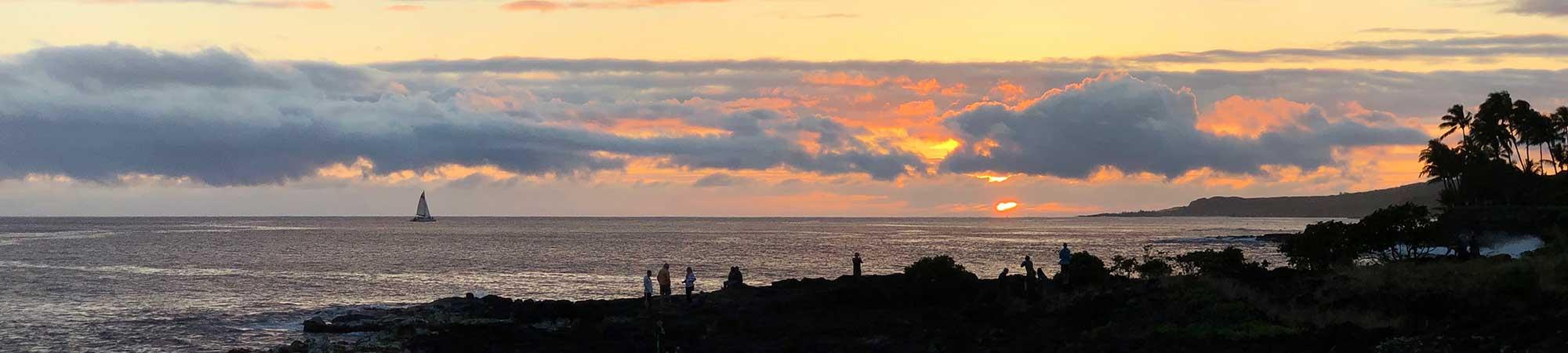 Poipu Kauai coast sunset